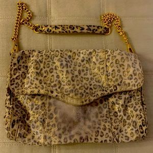 Leopard print soft calf hair bag